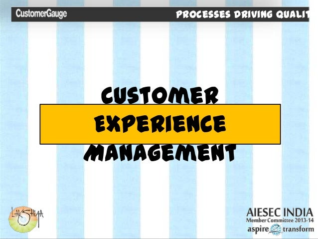 Processes Driving Quality Customer Experience Management Processes Driving Quality