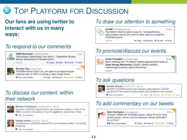 12 TOP PLATFORM FOR DISCUSSION Our fans are using twitter to interact with us in many ways: To respond to our comments To ...