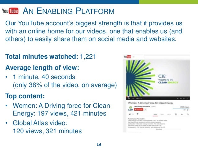 16 AN ENABLING PLATFORM Our YouTube account's biggest strength is that it provides us with an online home for our videos, ...