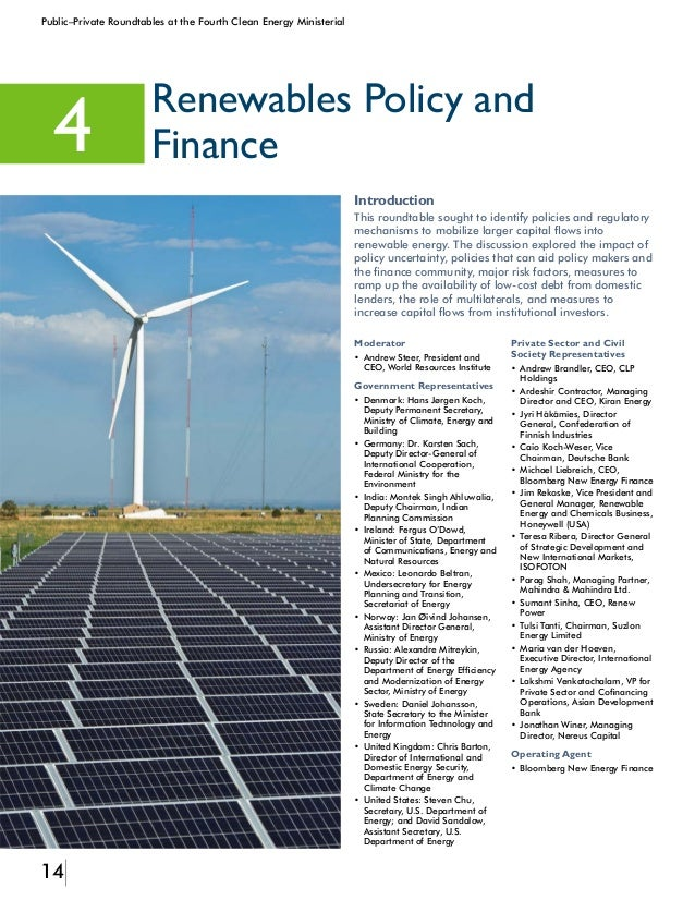 15 Public–Private Roundtables at the Fourth Clean Energy Ministerial Identified Barriers The roundtable participants ident...