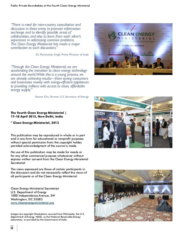 iii Public–Private Roundtables at the Fourth Clean Energy Ministerial Foreword...............................................