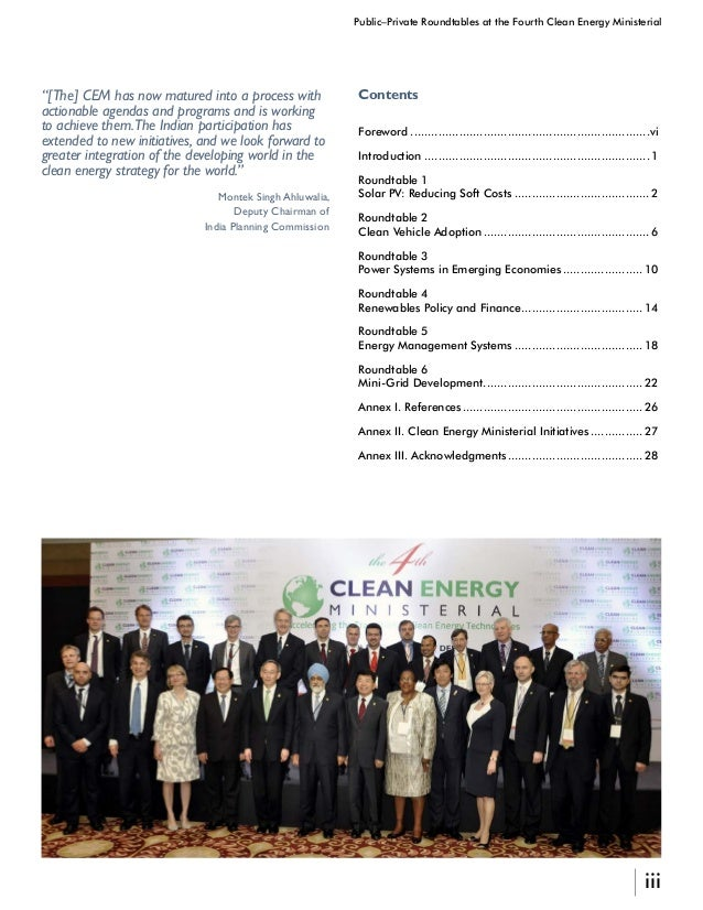 iv Public–Private Roundtables at the Fourth Clean Energy Ministerial Anil K. Jain, IAS Adviser, Energy Planning Commission...