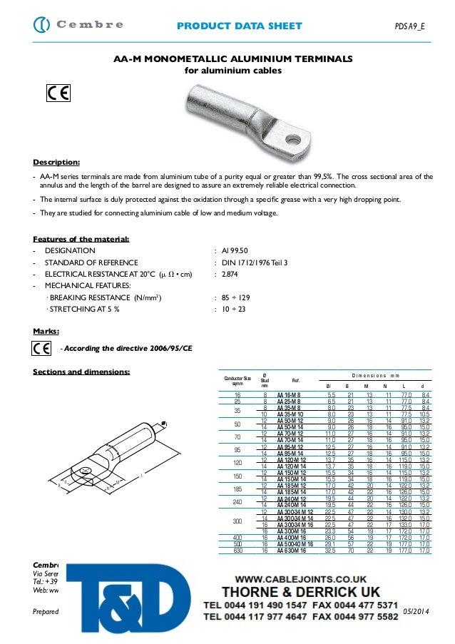 PRODUCT DATA SHEET PDS A9_E AA-M MONOMETALLIC ALUMINIUM TERMINALS for aluminium cables Description: - AA-M series terminal...