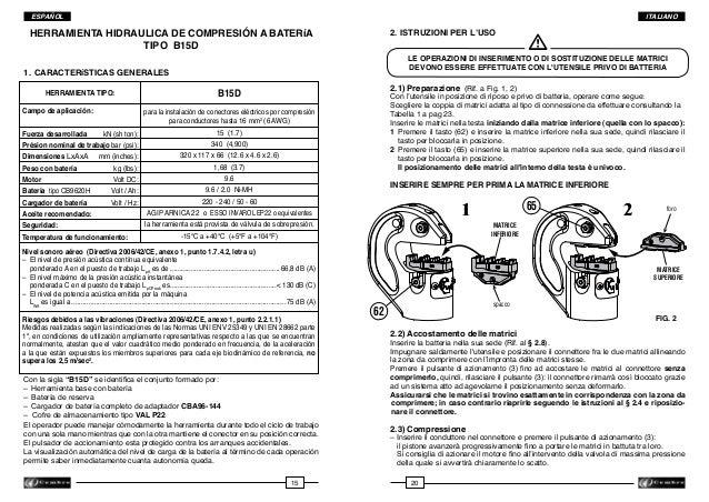ITALIANO  ESPAÑOL  HERRAMIENTA HIDRAULICA DE COMPRESIóN A BATERíA TIPO B15D  2. ISTRUZIONI PER L'USO  LE OPERAZIONI DI IN...