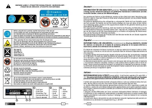 ! ▲  WARNING LABELS - ETIQUETTES SIGNALETIQUES - WARNSCHILDER ETIQUETAS DE ATENCION - ETICHETTE D'AVVERTENZA  INFORMATION ...