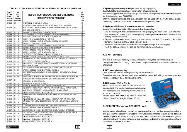 ENGLISH  TABLE 2 - TABLEAU 2 - TABELLE 2 - TABLA 2 - TAVOLA 2 (ITEM 10)  ...
