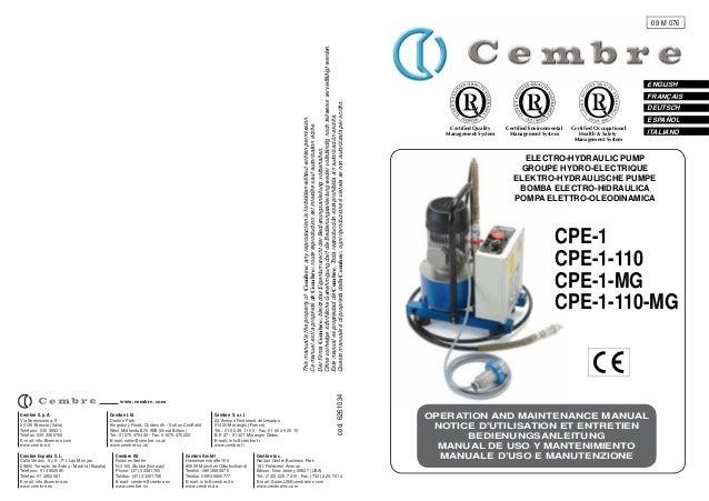 Cembre CPE-1 Electrically Driven Hydraulic Pump Manual