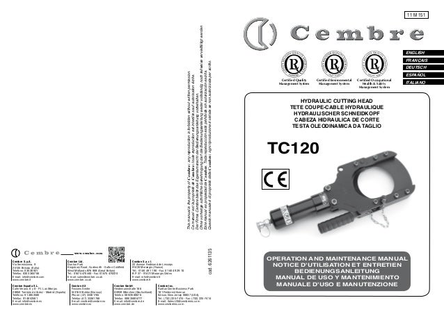 Cembre TC120 Hydraulic Cable Cuttting Tool Manual