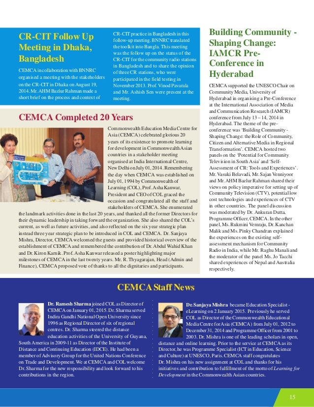 15 CEMCA Completed 20 Years Commonwealth Education Media Centre for Asia (CEMCA) celebrated glorious 20 years of its exist...