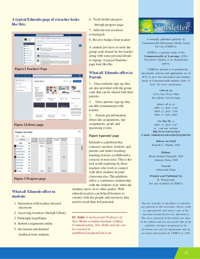 23 A typical Edmodo page of a teacher looks like this: Figure 1 Teachers'Page Figure 2 Library page Figure 3 Progress page...