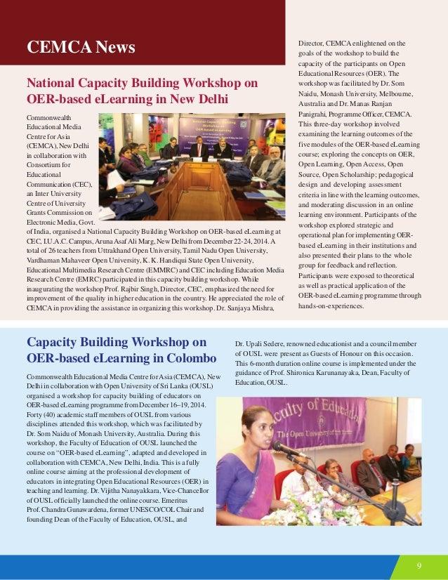 9 CEMCA News National Capacity Building Workshop on OER-based eLearning in New Delhi Commonwealth Educational Media Centre...