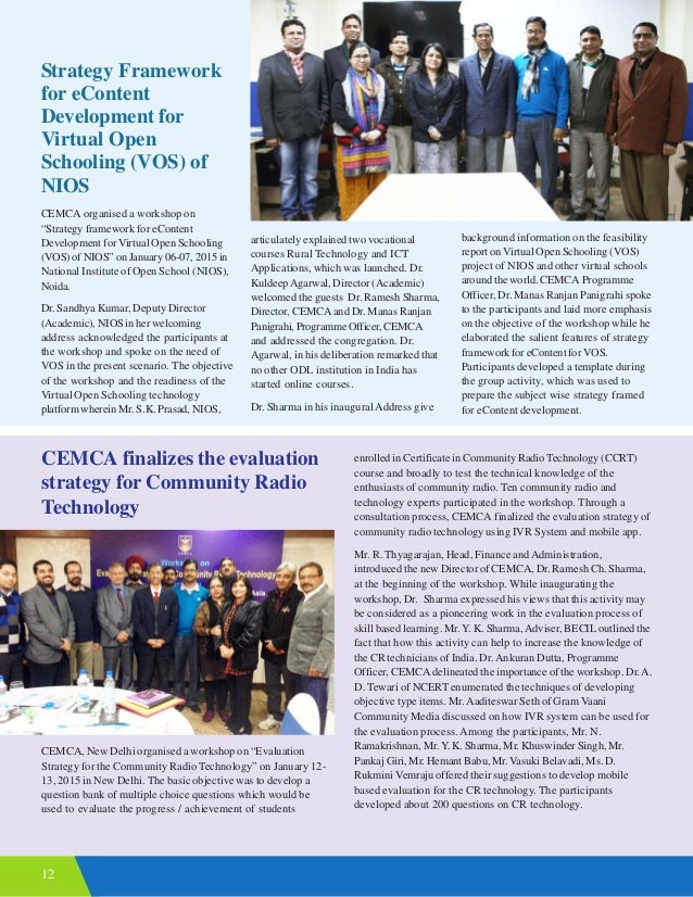 """12 Strategy Framework for eContent Development for Virtual Open Schooling (VOS) of NIOS CEMCA organised a workshop on """"Str..."""