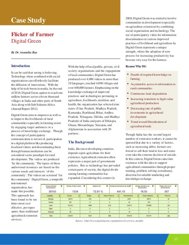 13 Case Study Flicker of Farmer Digital Green By Dr. Anamika Ray Introduction It can be said that seeing is believing. Tec...