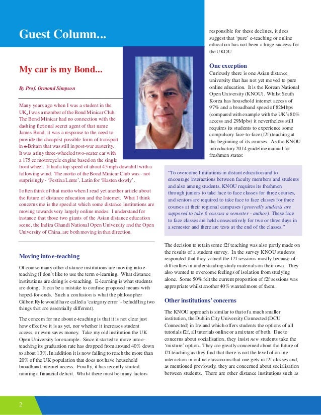 2 Guest Column... My car is my Bond... By Prof. Ormond Simpson Many years ago when I was a student in the UK, I was a memb...