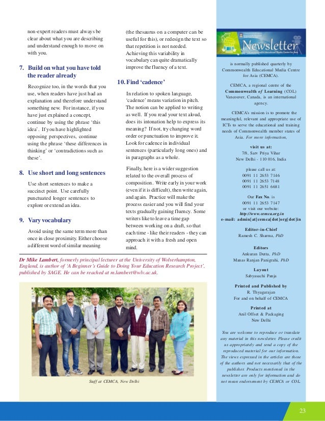 23 is normally published quarterly by Commonwealth Educational Media Centre for Asia (CEMCA). CEMCA, a regional centre of ...