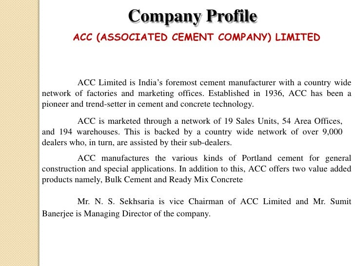 Associated Cement Companies : Ratio analysis on cement ind