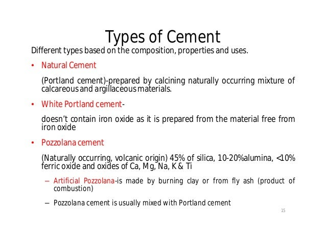 Types Of Cement : Cement