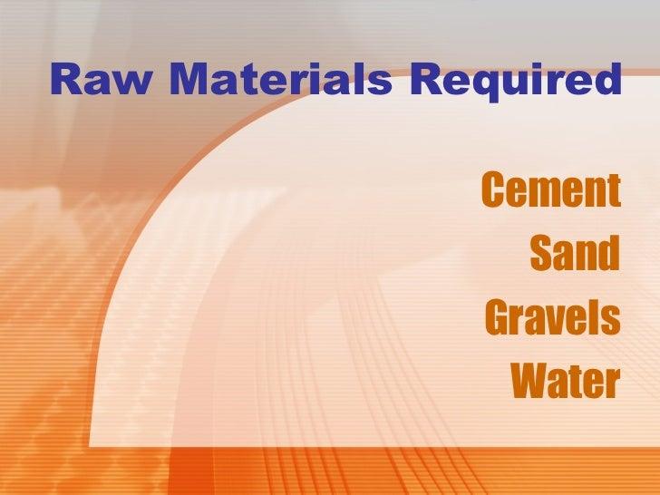 Cement Raw Materials 3 : Cement brick concrete block making