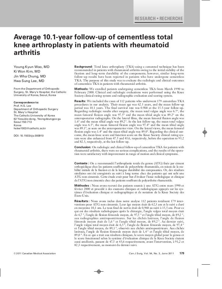 RESEARCH • RECHERCHEAverage 10.1-year follow-up of cementless totalknee arthroplasty in patients with rheumatoidarthritisY...