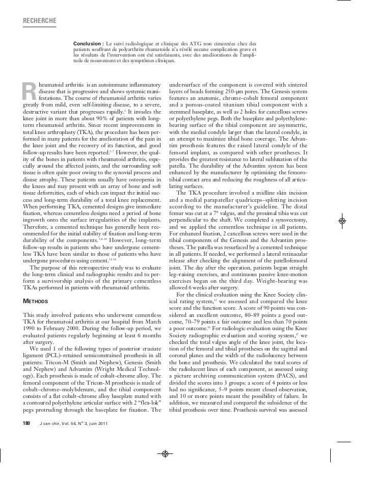 RECHERCHE                        Conclusion : Le suivi radiologique et clinique des ATG non cimentées chez des            ...