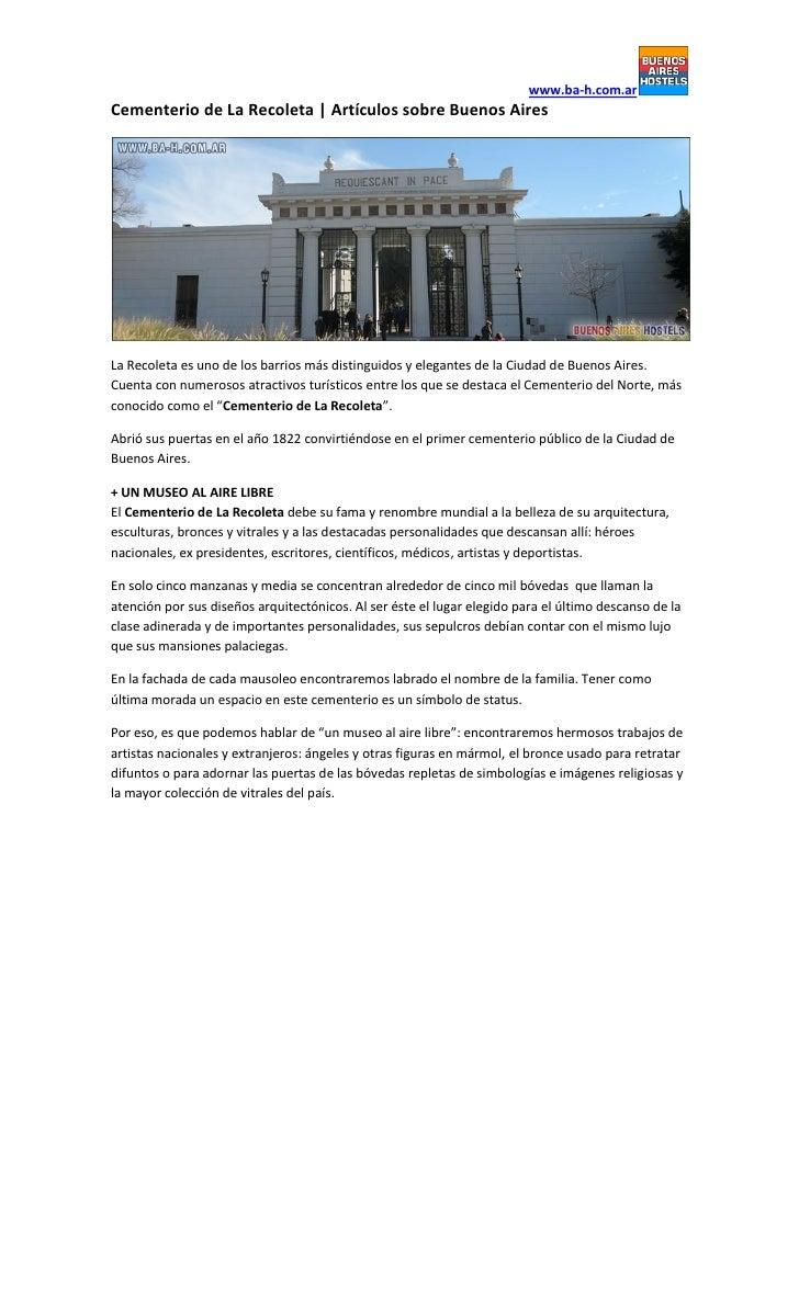 www.ba-h.com.arCementerio de La Recoleta   Artículos sobre Buenos AiresLa Recoleta es uno de los barrios más distinguidos ...