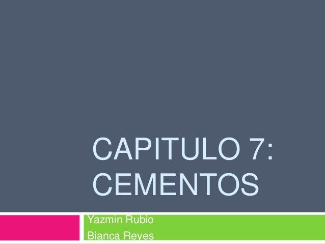 CAPITULO 7:CEMENTOSYazmin RubioBianca Reyes