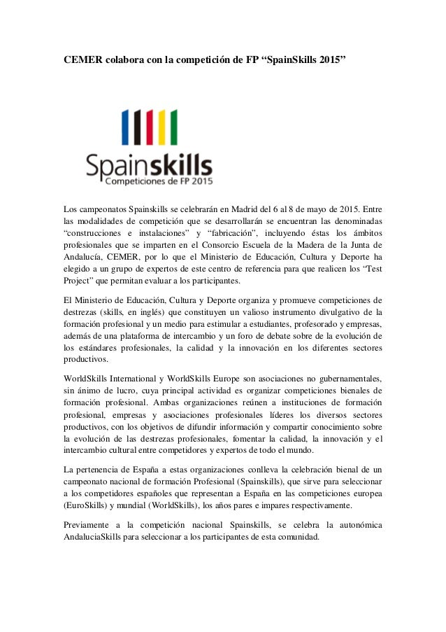 """CEMER colabora con la competición de FP """"SpainSkills 2015"""" Los campeonatos Spainskills se celebrarán en Madrid del 6 al 8 ..."""