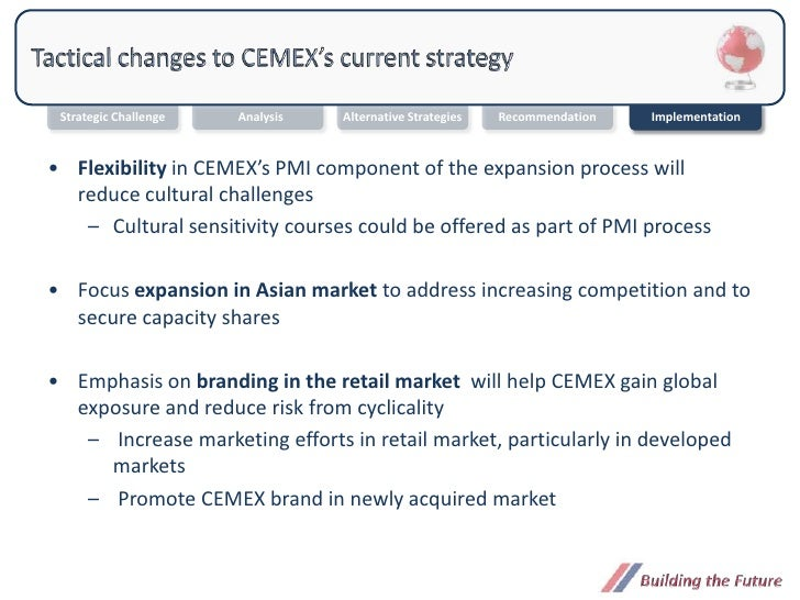 cemex strategy At the current rate of cemex's strategy for growth through global acquisition, cemex's competitive advantage can travel as far as the company wants to go.