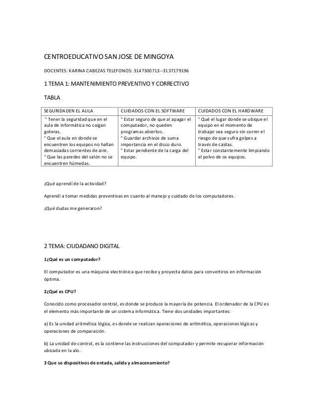 CENTROEDUCATIVO SAN JOSE DE MINGOYA DOCENTES: KARINA CABEZAS TELEFONOS: 3147300713--3137179196  1 TEMA 1: MANTENIMIENTO PR...