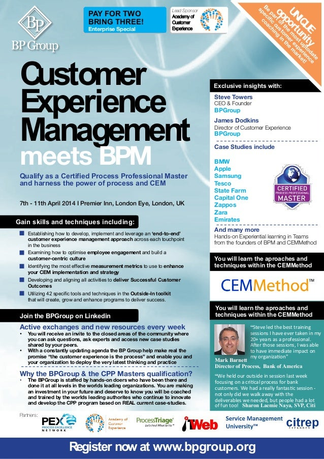 PAY FOR TWO BRING THREE! Enterprise Special   Lead Sponsor: Academy of Customer Experience  C ustomer Experience Managemen...