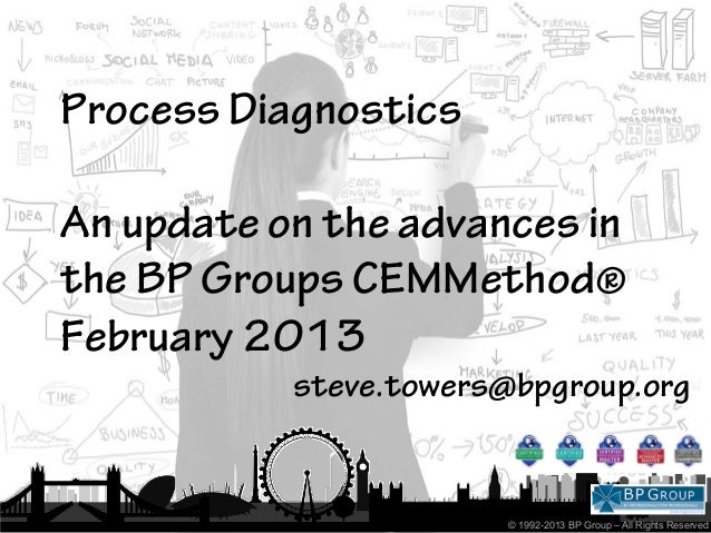Process DiagnosticsAn update on the advances inthe BP Groups CEMMethod®February 2013           steve.towers@bpgroup.org   ...