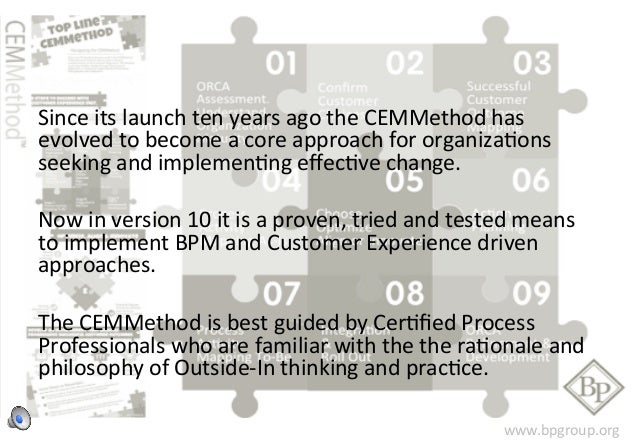 Since  its  launch  ten  years  ago  the  CEMMethod  has  evolved  to  become  a  core  approach  for  organizaFons  seeki...