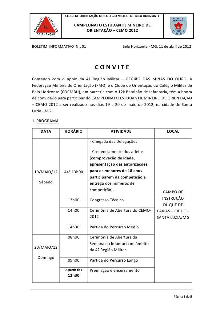 CLUBE DE ORIENTAÇÃO DO COLÉGIO MILITAR DE BELO HORIZONTE                       CAMPEONATO ESTUDANTIL MINEIRO DE           ...