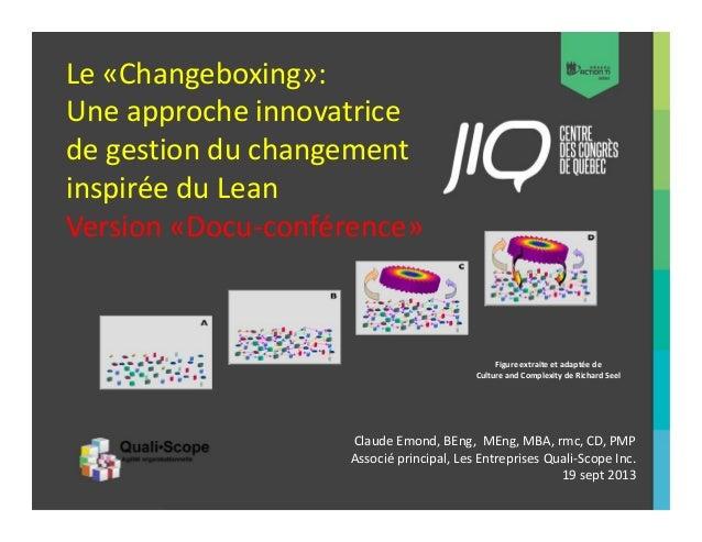 Le «Changeboxing»: Une approche innovatrice de gestion du changement inspirée du Lean Version «Docu-conférence»  Figure ex...