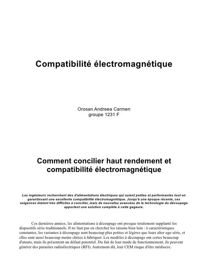 Compatibilité électromagnétique                                        Orosan Andreea Carmen                              ...