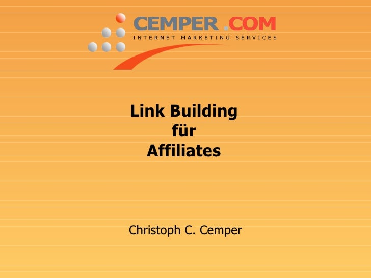 Link Building für Affiliates Christoph C. Cemper