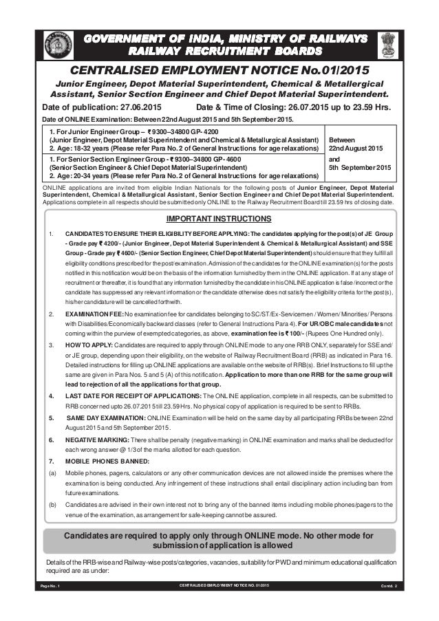 CENTRALISED EMPLOYMENT NOTICE No.01/2015 Junior Engineer, Depot Material Superintendent, Chemical & Metallergical Assistan...