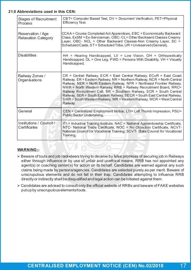 Rrb Group D Recruitment 2018 Cen 02 2018level1postsenglish