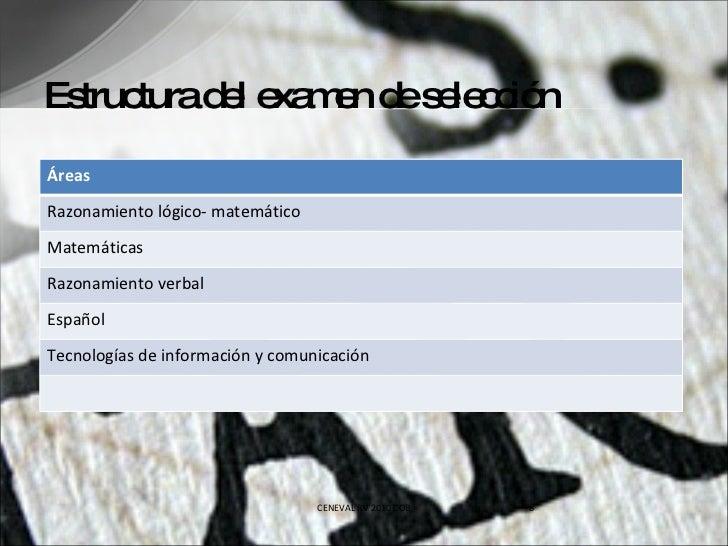 Estructura del examen de selección CENEVAL RV 2010 COB Áreas Razonamiento lógico- matemático Matemáticas Razonamiento verb...
