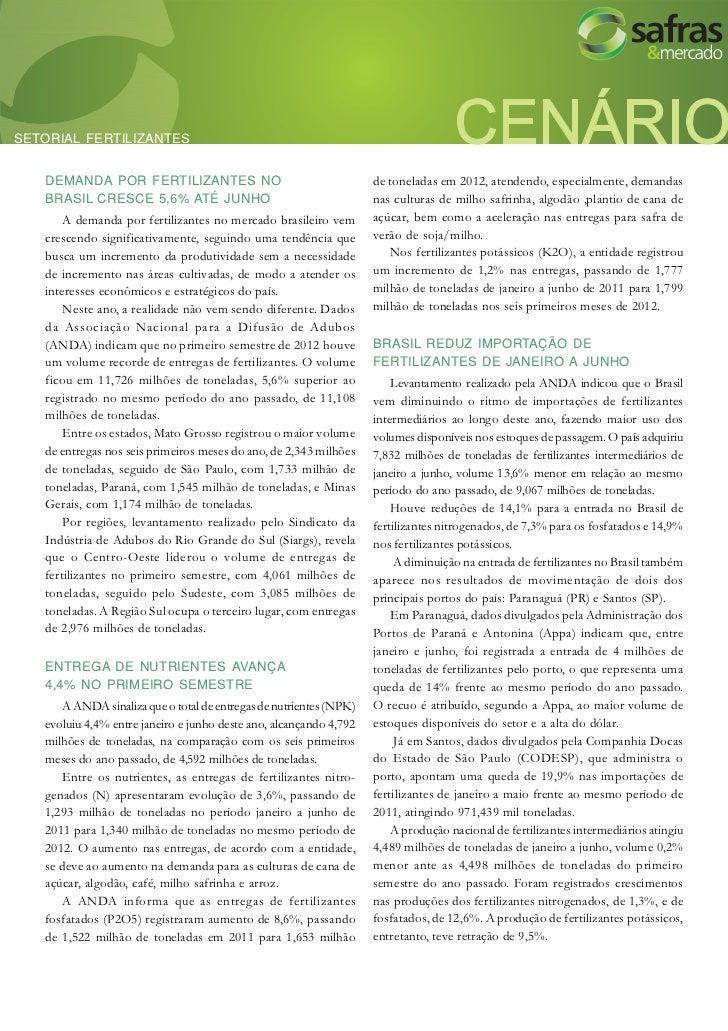 SETORIAL FERTILIZANTES   DEMANDA POR FERTILIZANTES NO                                      de toneladas em 2012, atendendo...