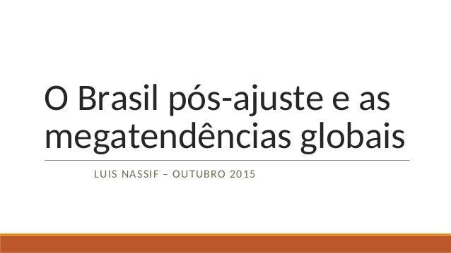 O Brasil pós-ajuste e as megatendências globais LUIS NASSIF – OUTUBRO 2015
