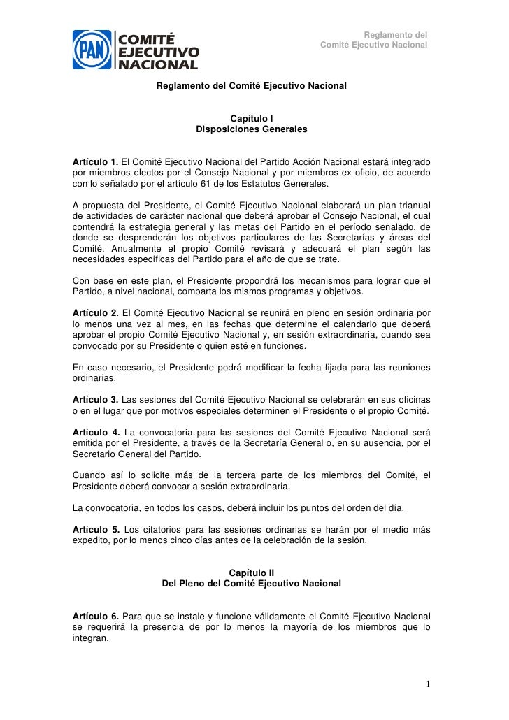 Reglamento del                                                             Comité Ejecutivo Nacional                      ...