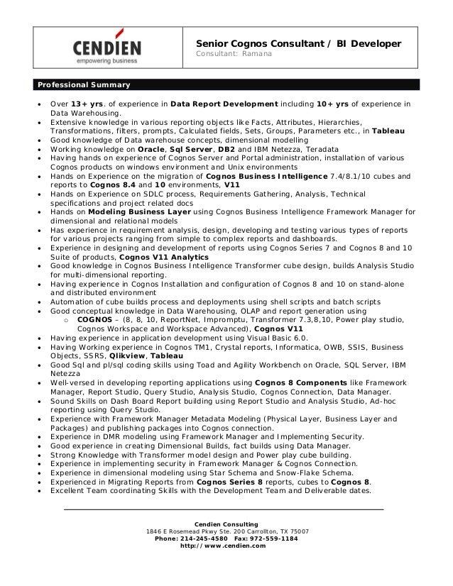 Senior Cognos Consultant / BI Developer Consultant: Ramana Cendien Consulting 1846 E Rosemead Pkwy Ste. 200 Carrollton, TX...