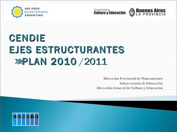 Dirección Provincial de Planeamiento Subsecretaría de Educación Dirección General de Cultura y Educación CENDIE EJES ESTRU...