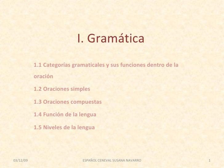 I. Gramática 1.1 Categorías gramaticales y sus funciones dentro de la oración 1.2 Oraciones simples 1.3 Oraciones compuest...