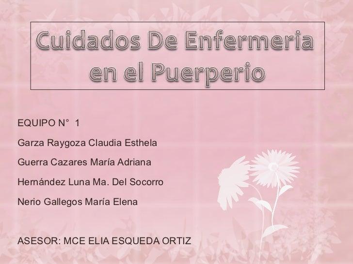 EQUIPO N°  1 Garza Raygoza Claudia Esthela Guerra Cazares María Adriana Hernández Luna Ma. Del Socorro Nerio Gallegos Marí...
