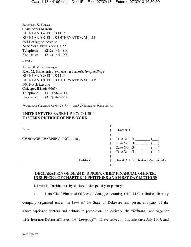 Case 1-13-44106-ess  Doc 15  Filed 07/02/13  Entered 07/02/13 16:30:50  Jonathan S. Henes Christopher Marcus KIRKLAND & EL...