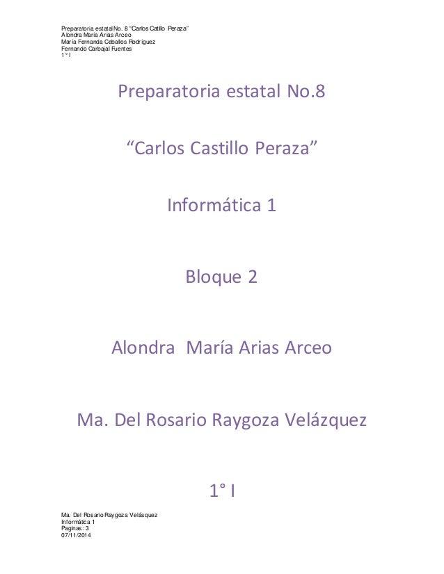 """Preparatoria estatal No. 8 """"Carlos Catillo Peraza""""  Alondra María Arias Arceo  María Fernanda Ceballos Rodríguez  Fernando..."""