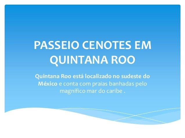 PASSEIO CENOTES EM QUINTANA ROO Quintana Roo está localizado no sudeste do México e conta com praias banhadas pelo magnífi...