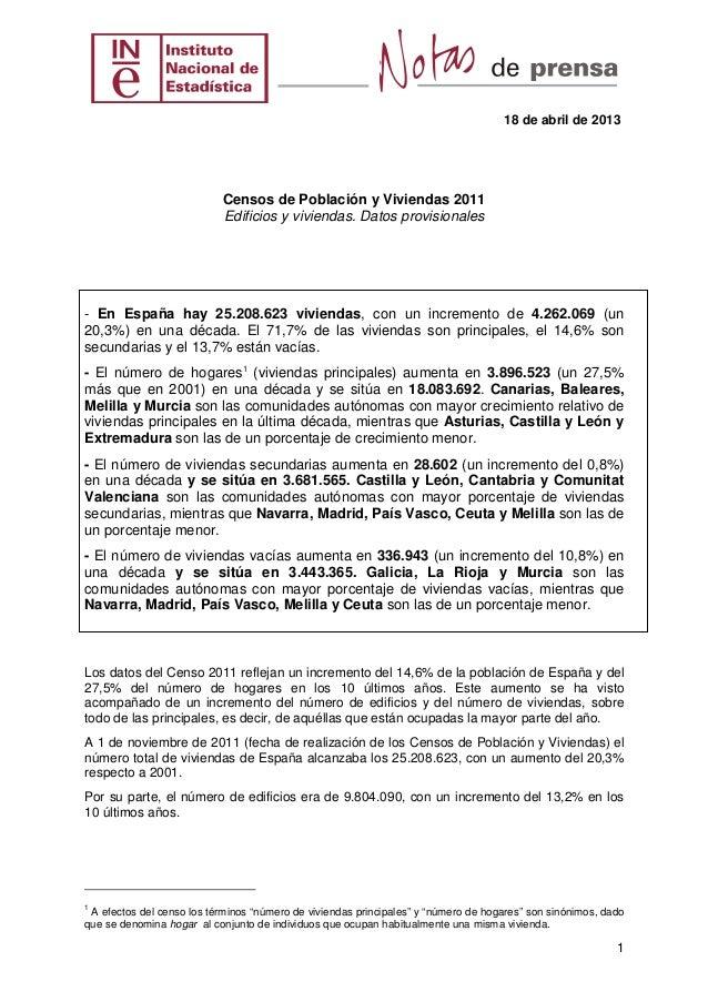 18 de abril de 2013                           Censos de Población y Viviendas 2011                           Edificios y v...